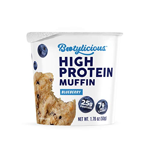 Bootylicious | High-Protein Muffin | 25g Protein, 7g Net Carbs, Gluten Free, 1.76oz Cup, 12-Pack (Blueberry)