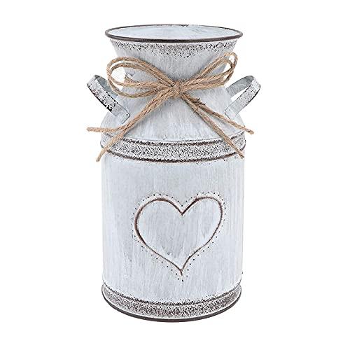 Wohlstand 1 pezzo Vaso Decorativo in Stile Country, Vaso in Metallo Shabby Chic per Fiori, Vaso Brocca Vintage in Metallo, per arredamento per la casa, uffici, camere da letto, giardinaggio domestico