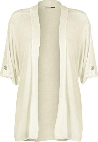 WearAll - Damen Übergröße Kurzarm knopf offen Cardigan Top - Crème - 48-50