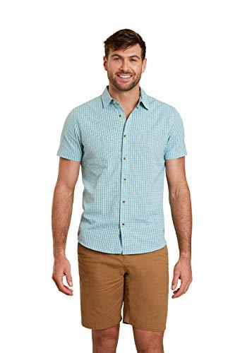 Mountain Warehouse Camisa Weekender de Manga Corta para Hombre - Camisa de Verano 100% algodón, Camisa Informal Ligera, Transpirable, Top cómodo - para Caminar Azul S