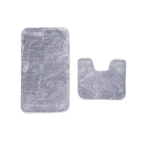 IYOYI Badematte Antirutsch Set 2 Teilig Badezimmerteppich, Badvorleger rutschfest Waschbar Badematten und U-förmige Kontur WC Teppich für Badezimmer (Grau)