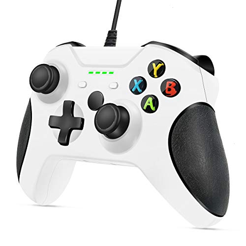 VOYEE Wired Controller Compatible with Xbox One/X/S/PC Windwos 10/8/7, with Headphone Jack/Double Shock/Upgraded Joystick - White