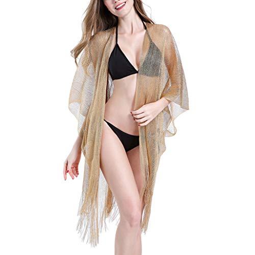 ZZALLL Womens Summer Metallic Glitter Einfarbiger Badeanzug Vertuschen Sie Lange Quasten Asymmetrischer Saum Kimono Cardigan Sheer Strick Sonnenschutz Schal Beachwear - Gold