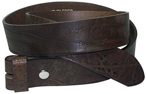 Fronhofer Ceinture modulable à bouton-pression, cuir naturel véritable à l aspect vintage 17534, Taille:Taille 95 cm, Couleur:Brun foncé