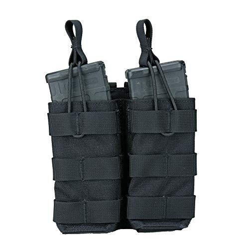 Modular Universal Double Rifle (AR / M4 / AK47 / G36 / M14 / SMG) Magazine Pouch, Open Top (Shingle) (Black)