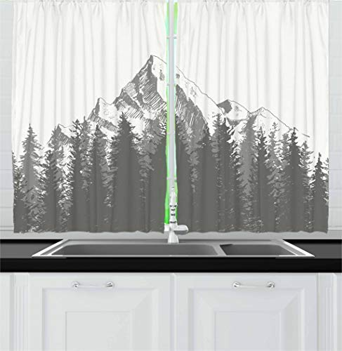Ambesonne Prehistoric Kitchen Curtains, Mountain Fir Forest and Arrow Folk Style Retro Print, Window Drapes 2 Panel Set for Kitchen Cafe Decor, 55' X 39', Dimgrey
