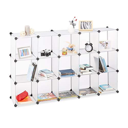 Relaxdays Steckregal aus Kunststoff, Regalsystem erweiterbar, 15 Fächer belastbar, Standregal...