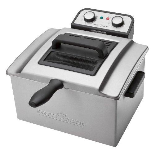 ProfiCook PC-FR 1038 Doppelfritteuse mit 2 kleinen und einem großen Frittierkorb, 5 Liter Kapazität, permanent Geruchs-und Fettdunstfilter, Edelstahlgehäuse, 3000 Watt