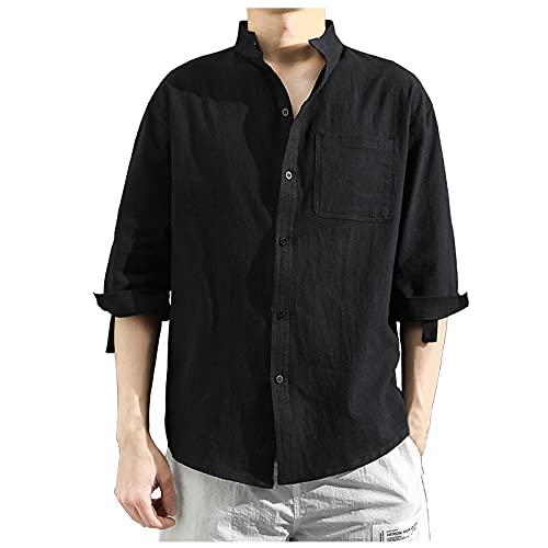 Camisas de hombre para primavera y verano, monocolor, corte ajustado, con bolsillos, camisa de tiempo libre, camisa monocromática con media manga. Negro L