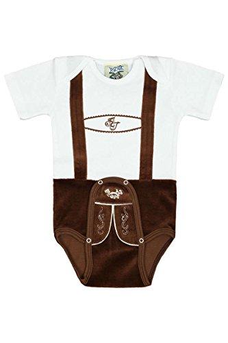 Isar-Trachten Baby - Jungen Babystrampler Lederhose braun kurz, weiß-braun, 68