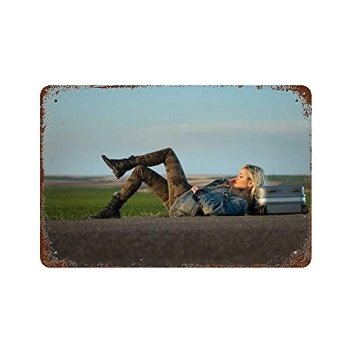 Lawenp Carteles Vintage de Metal Personalizados, Maleta de Carretera para niña, Rubia, decoración Vintage para el hogar, para Bar, Tienda, Divertido, Retro, Cartel de Arte de Pared W12xH8 Pulg