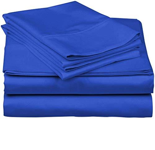 Tula Linen Juego de sábanas de algodón Egipcio de 800 Hilos en Color sólido, (King Size, 180 x 200 cm, Egipcio Azul)