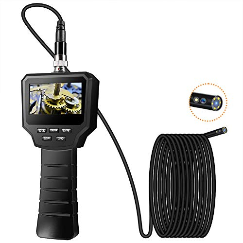 VOLADOR Zwei Linsen Industrielles Endoskop, 3,0 Zoll 1080P Full HD LCD Digitale Endoskopkamera, 3,0 Megapixel Doppellinse Inspektionskamera, IP67 Wasserdichter 6 Einstellbare LED, 1800mAh Batterie, 3M
