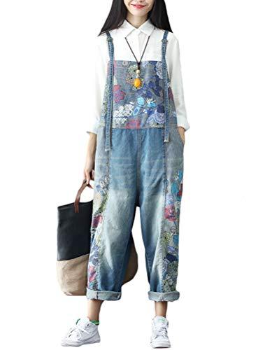 Vogstyle Damen Jumpsuit, lässiger Druck, Denim Gr. Größe, Stil 11-Blue