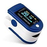 Goeco Pulsossimetro da Dito, Saturimetro Dito Professionale, Contatore di saturazione della frequenza cardiaca dell'ossigeno PR SPO2 Display LCD (Bianco-Blu)