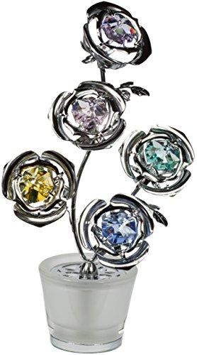 Statuetta con cristalli vaso con 5 fiori MADE WITH SWAROVSKI ELEMENTS Toni d'argento
