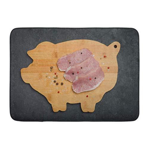 Soefipok Alfombra de baño Carnicero Rojo Barbacoa Carne de Cerdo Fresca cruda en la Tabla de Madera Vista Superior en Negro Blanco Deshuesado Chop Decoración de baño Alfombra