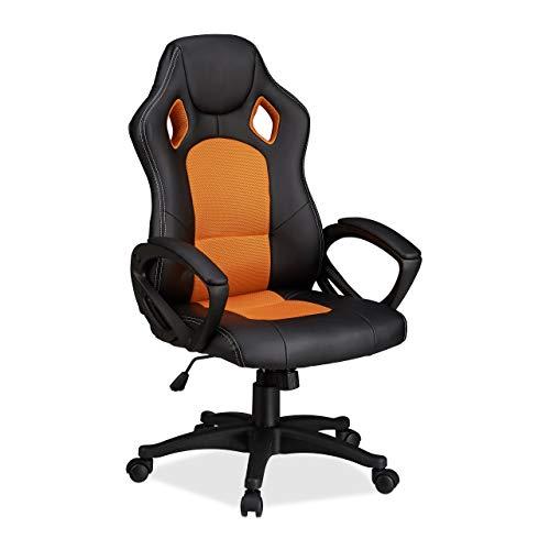 Relaxdays Gaming Stuhl XR9, Zocker Drehstuhl, bequemer Chefsessel m. Höhenverstellung, Racing Design, schwarz-orange