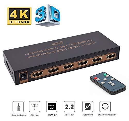 REEXBON HDMI Switch 4K@60Hz 5x1 Port Full HD 1080P HDMI Verteiler HDMI Schalter mit IR Fernbedienung Unterstützung und Anleitung für HDCP 2.2 Pour TV Blu-Ray HDTV PS3 / PS4 Xbox 360 / One