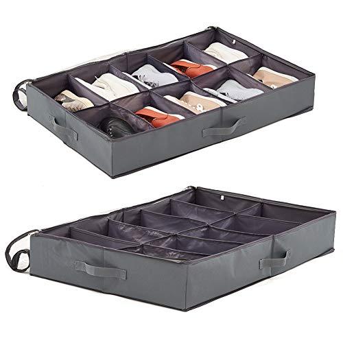 EZOWare Set de 2 Zapatero Funda Organizador Bajo de Cama, Alamacenaje de Zapatos con Tapa Transparente para Debajo de la Cama o Armario, 10 Compartimentos/Gris