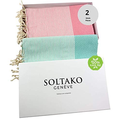SOLTAKO XXL 2X Fouta Strandtuch Handtuch Saunatuch Badetuch Hamamtuch Yoga Decke Pestemal in Kirschblütenrosa und Mint Farben als 2er Geschenkset extra groß, 100 x 200 cm