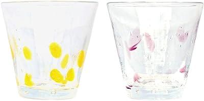 琉球ガラス工房 海風 水中3.5インチグラス (黄、紫) φ9.5cm 2個入