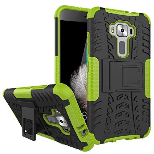Ycloud Rüstung Hülle für Asus Zenfone 3 ZE520KL (5.2'') Smartphone, Dual Layer Hybrid 2-in-1 Armor Handyhülle mit Ständer stoßdämpfend Rückseite Hülle (Schwarz+Grün)