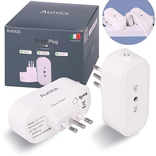 Presa smart Aunics, Presa alexa, Mini Presa wifi ITALIANA, 2 Pezzi Presa intelligente 15A compatibile con Google home, Amazon Alexa accessori, Smart life, Smart plug per Casa intelligente Domotica