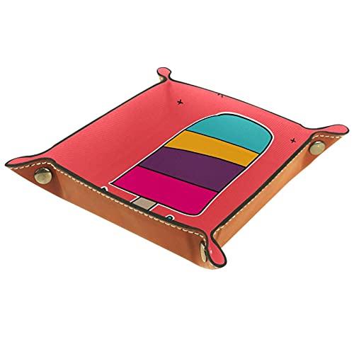 LXYDD Caja de Almacenamiento Multiusos con Bandeja Valet de Cuero Organizador de bandejas Se Utiliza para almacenar pequeños Accesorios,Helado de Arcoiris