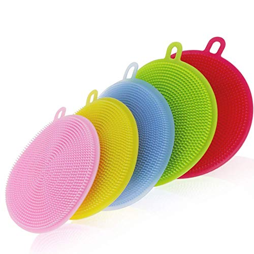 N M Z Cleaning Supplies Sponges Silicone Scrubber for Kitchen Non Stick Dishwashing & Baby Care Sponge Brush Household Health Tool (Multicolor, 2pcs)