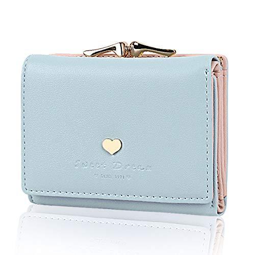 JORYEE Geldbörse Damen - Geldbeutel Damen Leder Brieftasche, Portmonee Damen Leder Elegant Süß Handtasche Portemonnaie Geldbeutel für Frauen (Blau)
