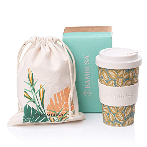 Taza de café de bambú | BAMBUSA | Taza reutilizable del viaje de Eco Friendly | Bolsa gratis incluida