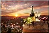 Wallario XXL Poster - Wein Romantik - Weißwein mit Käse
