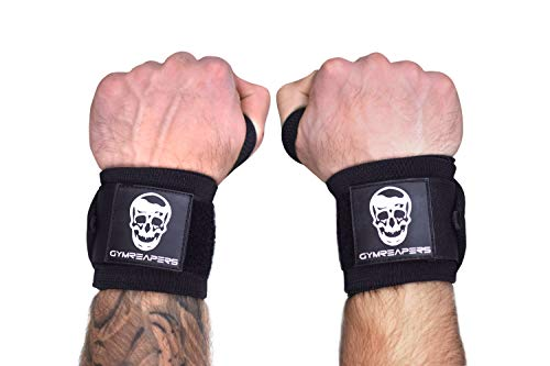 """Gymreapers Wrist Wraps Weightlifting - Stiff Heavy Duty 18 inch Wraps with Thick Thumb Loop for Powerlifting, Bodybuilding, Cross Training, & Heavy Presses (Black - Medium Stiff, 12"""")"""