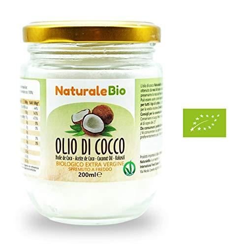 Olio di Cocco Biologico Extra Vergine 200 ml | Crudo e Spremuto a Freddo | Organico e Puro al 100% | Ideale sui Capelli, sul Corpo e ad Uso Alimentare | Olio di Cocco Bio Nativo e non Raffinato | NATURALEBIO®