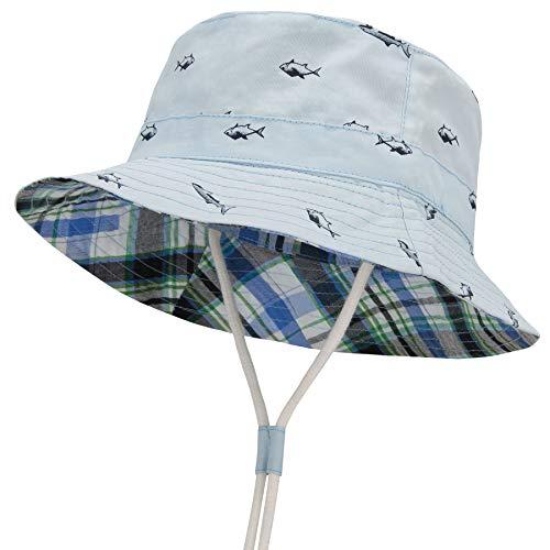 Durio Baby Sonnenhut Atmungsaktiv Sommerhut Kinder Fischerhut UV-Schutz Unisex Cap mit Verstellbarem Bindebändern Blau mit Fisch 4-8 Jahre