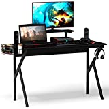 Tangkula Computer Desk Gaming Desk, Gaming Workstation with Cup and Headphone Holder, K-Shaped Gamer Table, PC Laptop Tablefor Pro Gamers