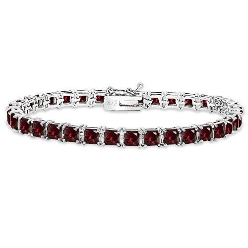 Sterling Silver Synthetic Ruby 4mm Princess-Cut Square Classic Tennis Bracelet