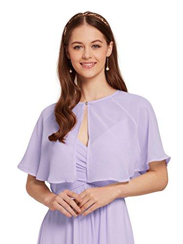 AW BRIDAL Soft Capelets Capes Shawls Wraps for Evening Dress Chiffon Shrug Wedding Cape Cover Up Lilac Purple S