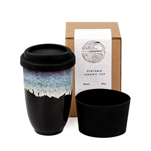 Nova Ceramics Reusable Coffee Cup, Ceramic Travel Mug with Lid,...