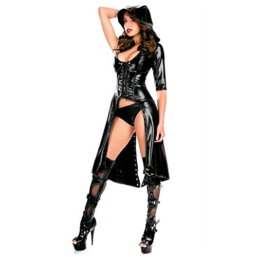 JCDZSW Erotik Dessous Leotard Lack Leder Trikot Schwarz Lack Leder Trenchcoat trägt einen Umhang Drill String Sexy Dessous Queen Kleid