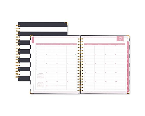 "Day Designer for Blue Sky 2017-2018 Academic Year Weekly & Monthly Planner, Wire-O Binding, 8"" x 10"", Navy Stripe Hardcover Photo #2"
