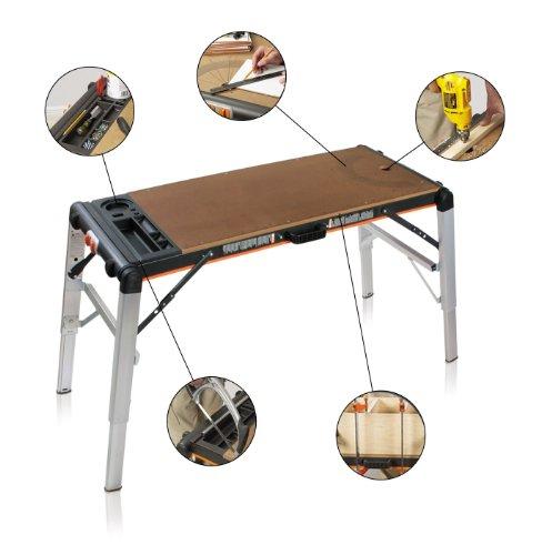 Smarty Tavolo da Lavoro Pieghevole Professionale Multifunzione per Fai Da Te   Banco da Lavoro e Trabattello Richiudibile Portatile in Alluminio, Acciaio e MDF   Portata fino a 240 Kg