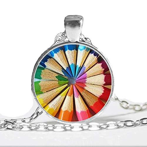 Buntstifte Halskette Regenbogenfarben Buntstifte Kunst Halskette Geschenk für Künstler Cabochon Halskette Lehrer