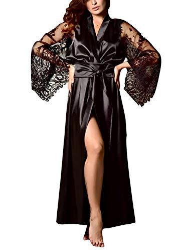 Carolilly Damen Satin Nachtkleid Kimono Robe Nachtwäsche Sleepwear mit Spitzen (M, Schwarz)