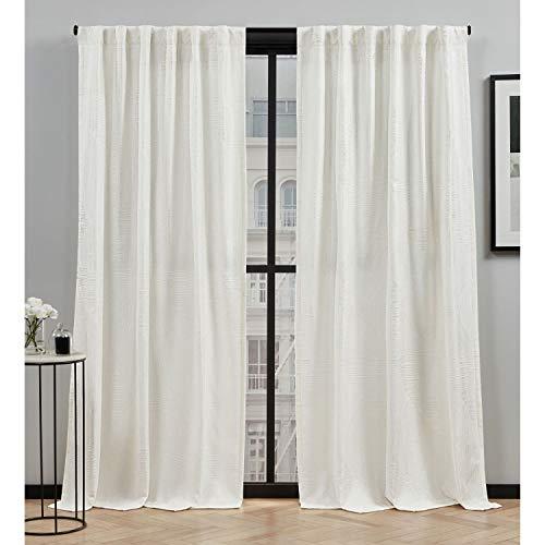 Elle Decor Cardi Light Filtering Back Tab Rod Pocket Curtain Panel Pair, 54x96, Ivory