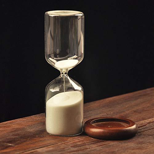 QWSNED Temporizador de reloj de arena, exquisito reloj de arena blanco, temporizador de reloj de arena de 30 minutos de madera, adornos de decoración del hogar