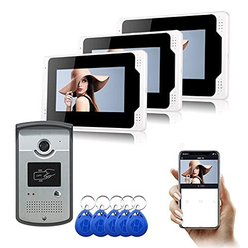 Video Portero con WiFi Inalámbrico Cableado 7 Pulgadas LCD Monitor De Video De La Puerta del Timbre De Teléfono con Tarjeta De ID 5PCS para El Seguimiento De Los Apoyos RFID Mando De Desbloqueo,C