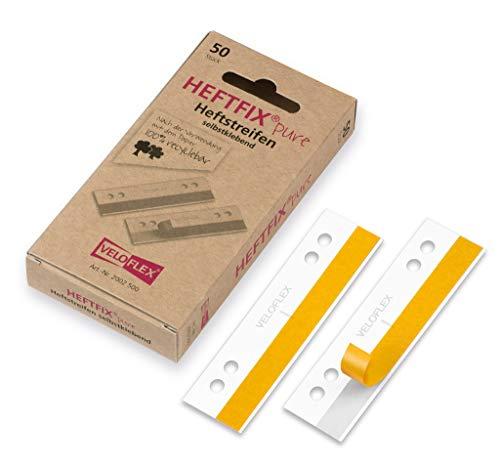 VELOFLEX 2002500 - Heftfix Heftstreifen pure, 105 mm lang, FSC zertifiziertes Papier, selbstklebend, Lochabstand 60 & 80 mm, zum Abheften von Mustern, Zeichnungen, Bildern usw., 50er Packung weiß