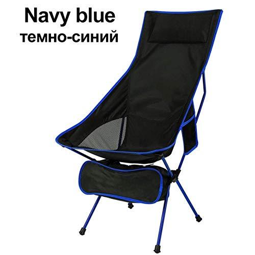 YFCTLM Silla Plegable Silla Plegable Silla de salón de la Playa Pesca Ligera Respaldo al Aire Libre Sillas de Ruedas portátiles con Mochila de Acampada sin Senderismo (Color : Blue)